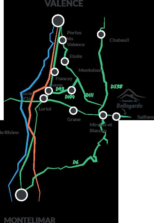 Carte et plan d'accès des gîtes dans la Drôme